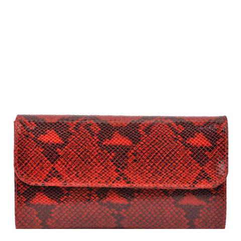 Roberta M Red Snake Print Leather Clutch Bag