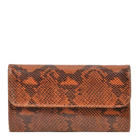 Roberta M Cognac Snake Print Leather Clutch Bag