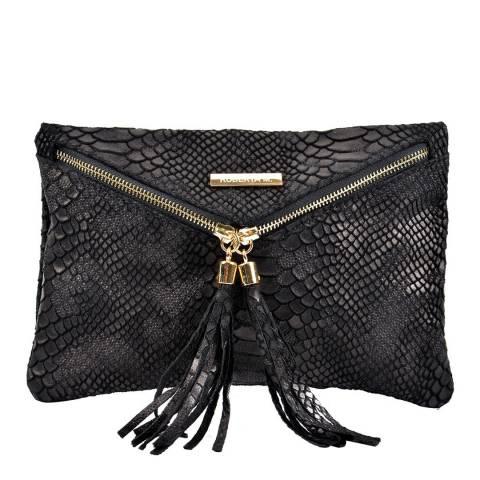 Roberta M Black Envelope Zip Leather Clutch Bag