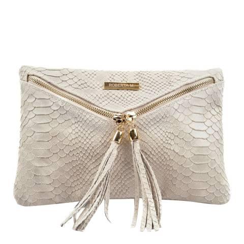 Roberta M Beige Envelope Zip Leather Clutch Bag