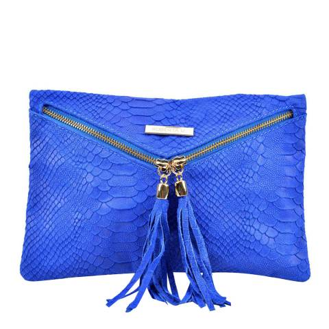 Roberta M Blue Envelope Zip Leather Clutch Bag