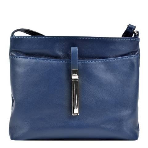 Roberta M Blue Leather Cross Body Bag