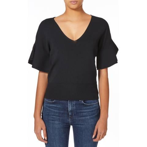 Karen Millen Black V-Neck Soft Ruffle Knit Top