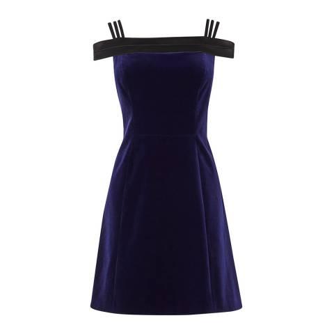 Karen Millen Navy Velvet Mini Cotton Blend Dress