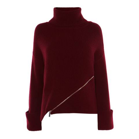 Karen Millen Deep Red Chunky Zip Wool Blend Jumper