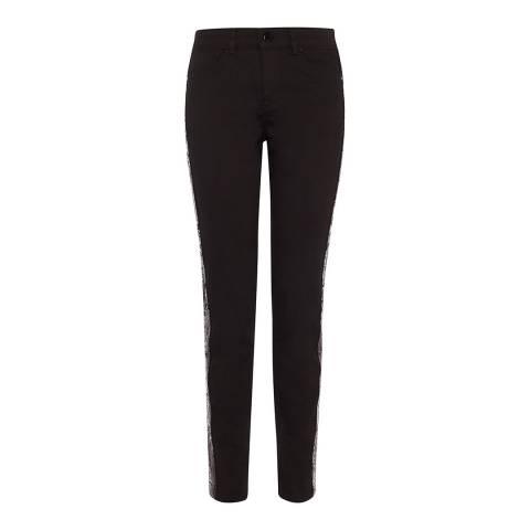 Karen Millen Black Sequin Stripe Cotton Stretch Skinny Jeans