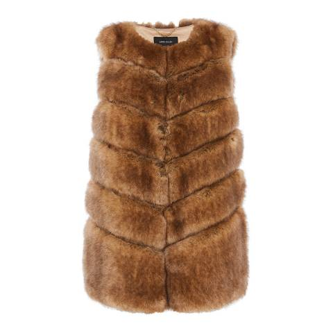 Karen Millen Tan Fox Faux Fur Gilet