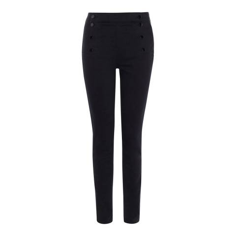 Karen Millen Black Button Cotton Stretch Skinny Leggings