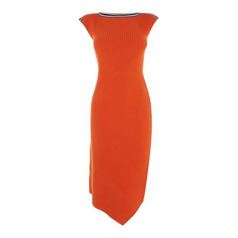 Karen Millen Orange Asymmetric Sports Ribbed Midi Dress