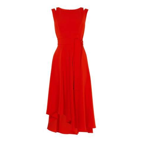 Karen Millen Red Asymmetric Belted Dress