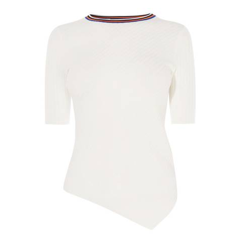 Karen Millen White Asymmetric Sporty T-Shirt