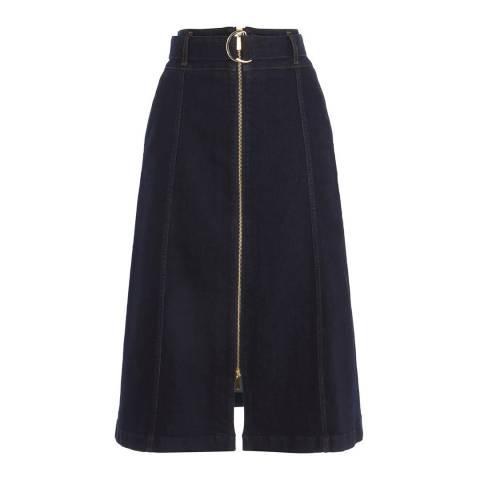 Karen Millen Navy Dark Wash Denim Skirt