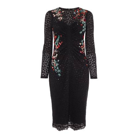 Karen Millen Black Japanese Floral Lace Pencil Dress