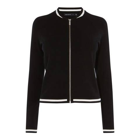 Karen Millen Black Mesh Stitch Piped Cardigan