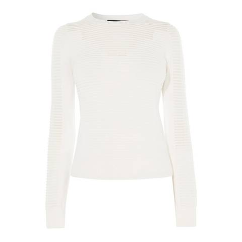 Karen Millen Ivory Sheer Panel Knit Jumper