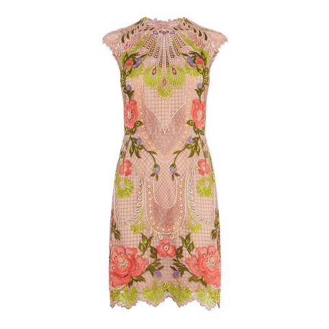 Karen Millen Pink/Multi Embroidered Lace Mini Dress