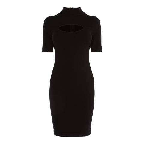 Karen Millen Black High Neck Bodycon Dress