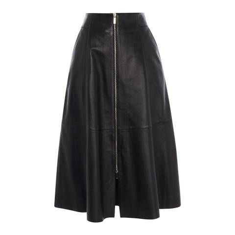 Karen Millen Black Midi Zip Leather Skirt