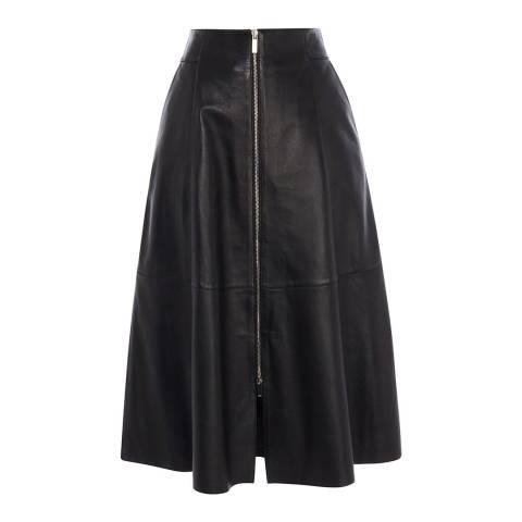 Karen Millen Black Midi Zip Leather Skirt