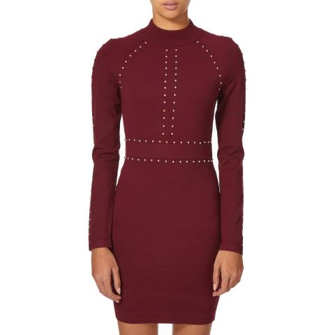 Karen Millen Red Stud Detail Knit Dress