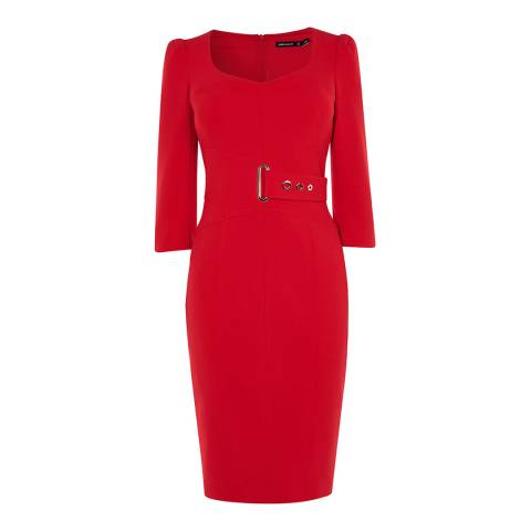 Karen Millen Red Corsetry Waisted Pencil Dress