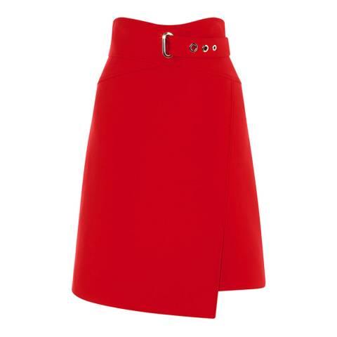 Karen Millen Red A Line Wrap Mini Skirt