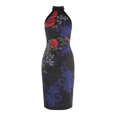 Karen Millen Black/Multi Floral Halterneck Dress