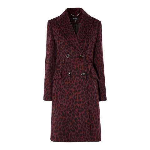 Karen Millen Plum Leopard Tailored Coat