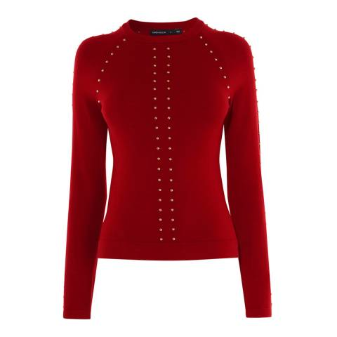 Karen Millen Red Stud Embellished Jumper