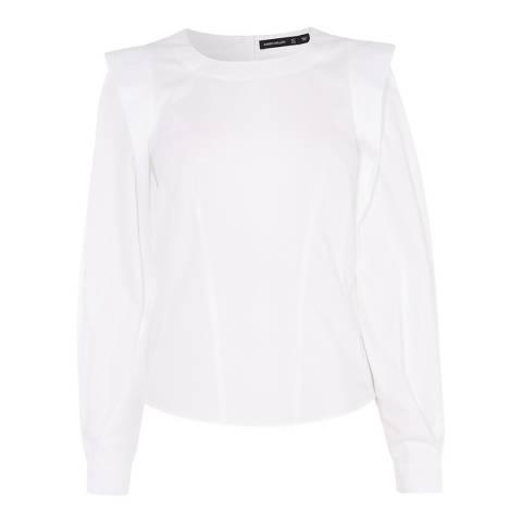 Karen Millen White Big Sleeve Cotton Stretch Shirt
