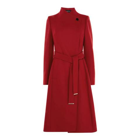 Karen Millen Red Wrap Tie Waist Tailored Coat