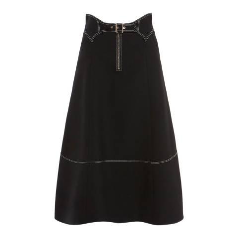 Karen Millen Black Contrast Stitch Midi Skirt