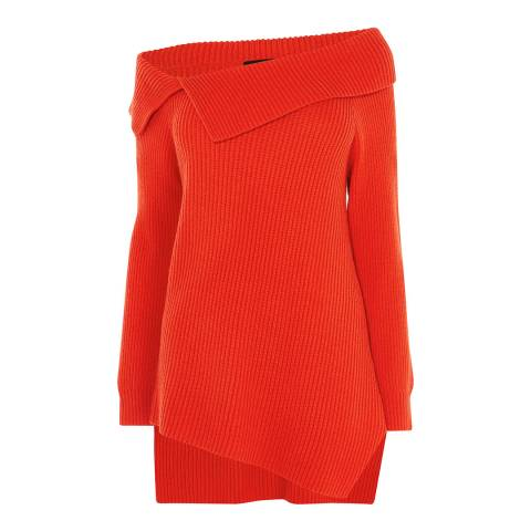 Karen Millen Red Asymmetric Bardot Ribbed Jumper