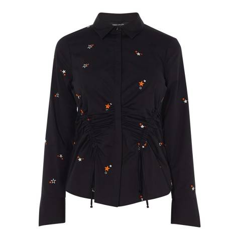 Karen Millen Black Star Embroidered Cotton Stretch Shirt