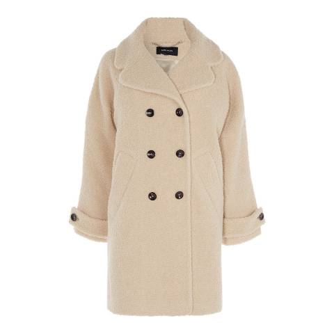Karen Millen Beige Tailored Wool Blend Teddy Coat