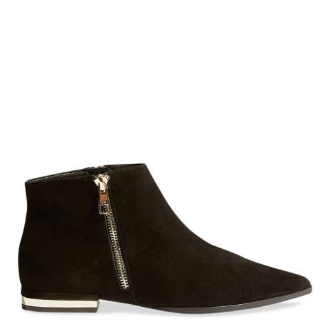Karen Millen Black Zip Suede Leather Ankle Boots
