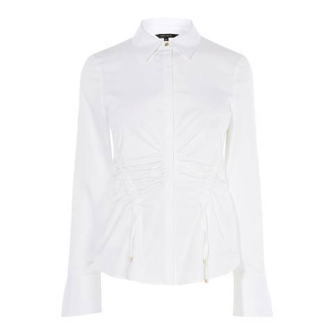 Karen Millen White Drawstring Ruched Cotton Stretch Shirt
