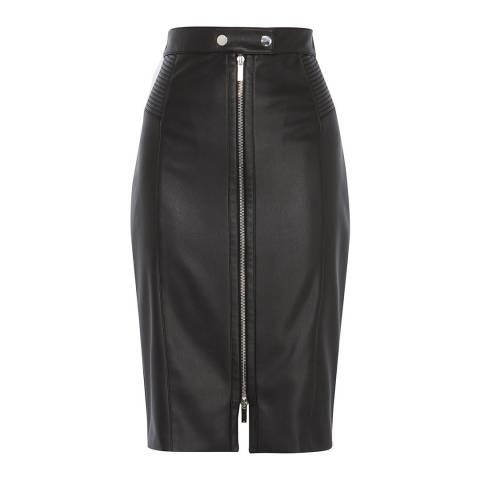 Karen Millen Black Midi Faux Leather Biker Skirt
