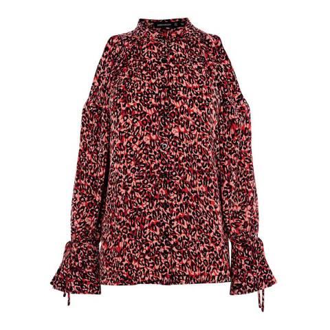 Karen Millen Red Leopard Print Blouse