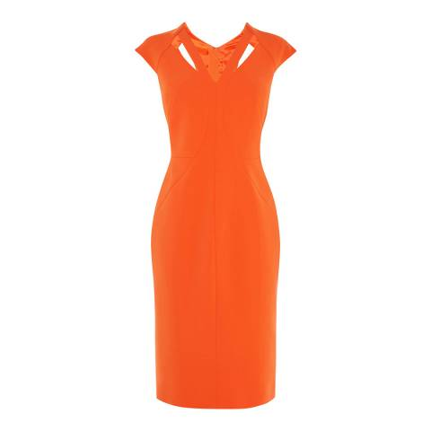 Karen Millen Orange Cut Out Contour Dress
