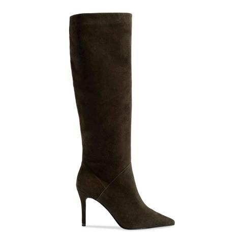 Karen Millen Olive Knee High Suede Leather Boots