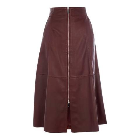 Karen Millen Warm Purple Zip Leather Midi Skirt
