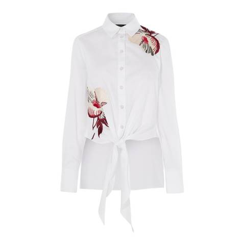 Karen Millen White Embroidery Cotton Blend Shirt