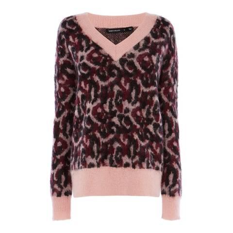 Karen Millen Pink/Multi Leopard Wool Blend Jumper