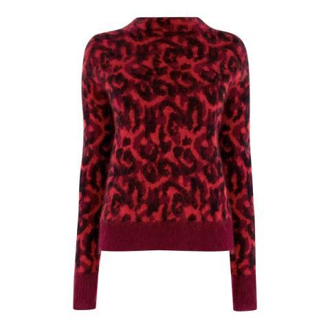 Karen Millen Red Leopard Print Brushed Jumper