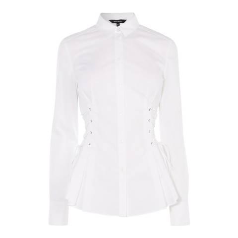 Karen Millen White Corset Cotton Stretch Shirt