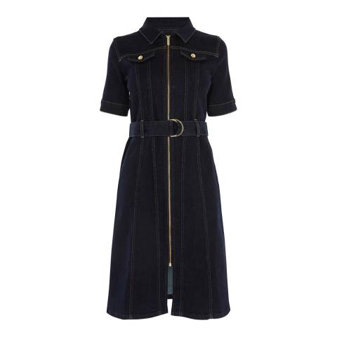 Karen Millen Navy Belted Cotton Stretch Denim Dress