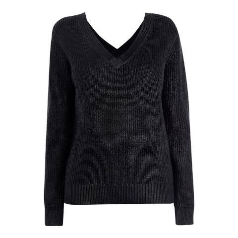 Karen Millen Black Wet Look Cotton Knit Jumper