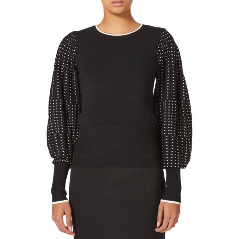 Karen Millen Black Graphic Pleated Sleeve Jumper