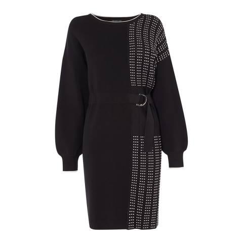 Karen Millen Black Half Pleated Jumper Dress